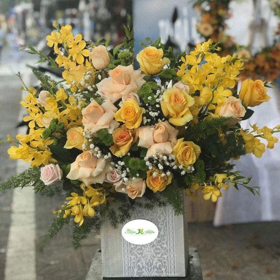 Hoa giỏ lan chanh, hồng vàng- HG03
