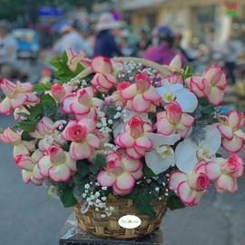 Hoa giỏ hồng son môi-HG19