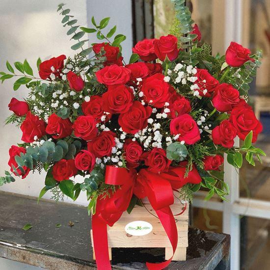 Hoa giỏ hồng đỏ - HG49