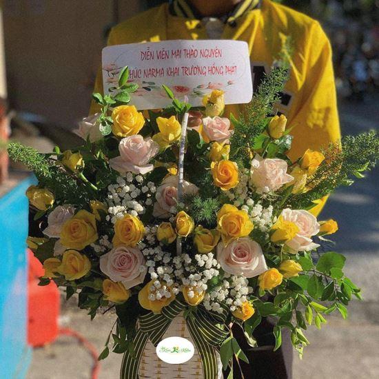 Hoa giỏ hồng vàng, hồng kem- HG73