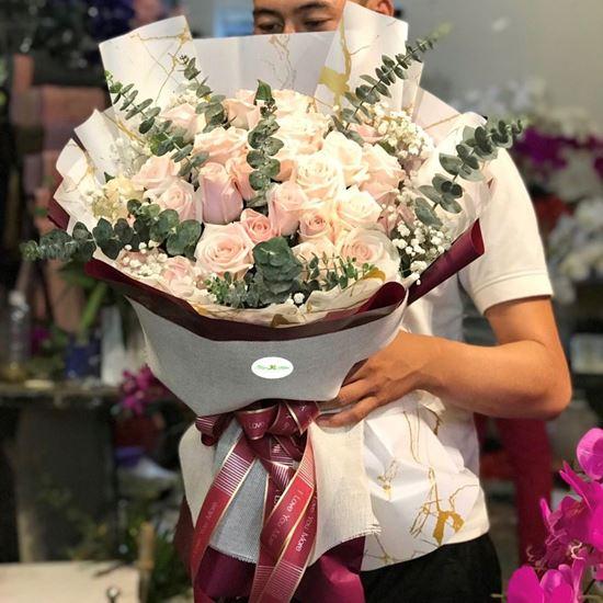 Bó hoa hồng kem mix baby- HB29
