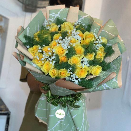 Bó hoa hồng vàng mix baby- HB33