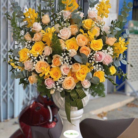 Bình hoa hồng vàng, lan vàng- BI19