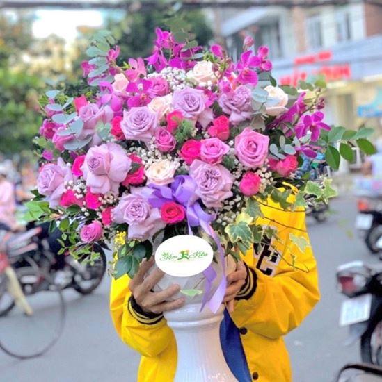 Bình hoa hồng tím, lan tím- BI26
