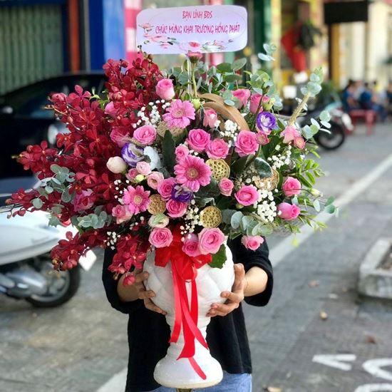 Bình hoa hồng , lan đỏ- BI28