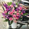 Bình hoa hồng, lan tím- BI30