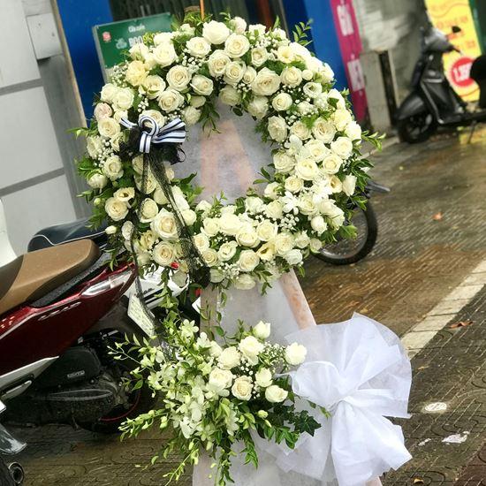 Vòng hoa viếng hồng trắng, lan trắng- KV03