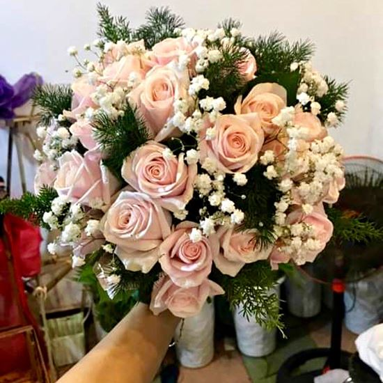 Bó hoa cưới hoa hồng pastel- HC07