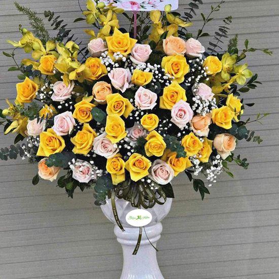 Bình hoa hồng vàng, lan vàng-BI36