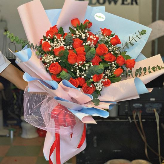 Hoa bó hồng cam đỏ-HB83