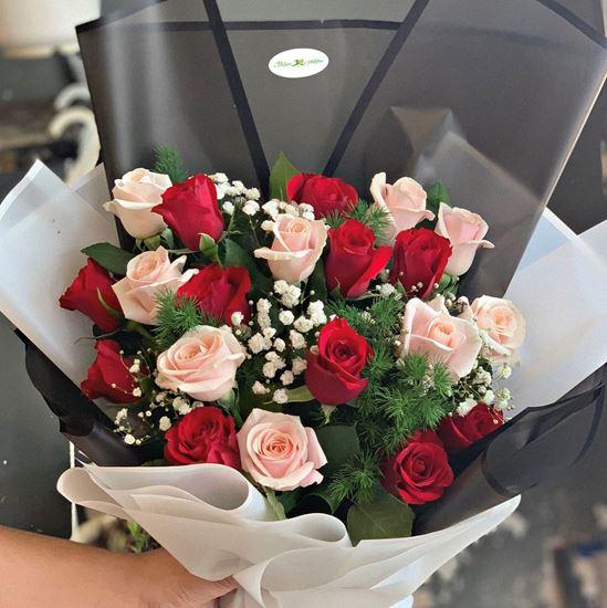 Bó hoa hồng đỏ, hồng kem-HB89