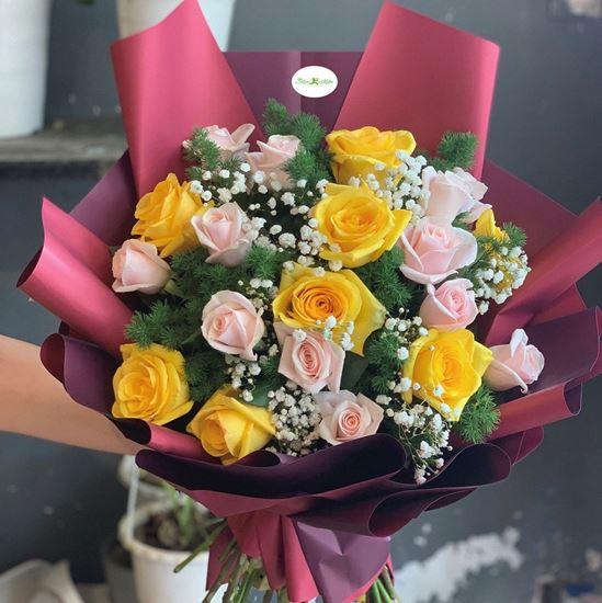 Hoa bó hồng vàng, hồng kem- HB90