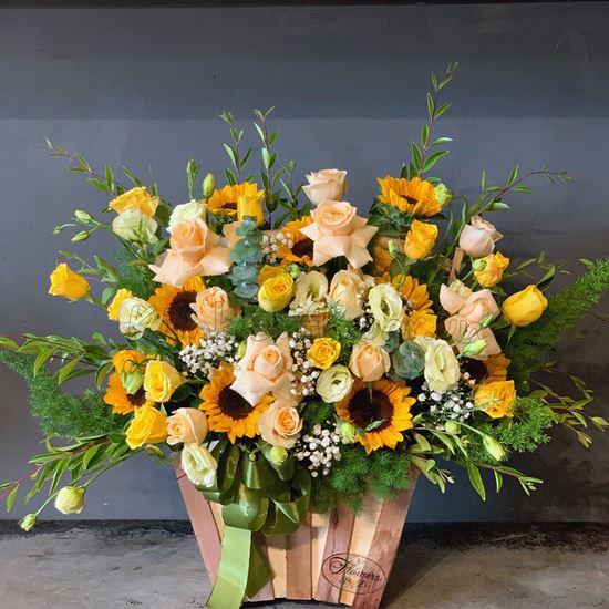 Hoa giỏ hướng dương, hoa hồng vàng-HG121
