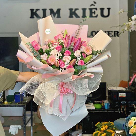 Bó hoa hồng dâu, hoa ly-HB111