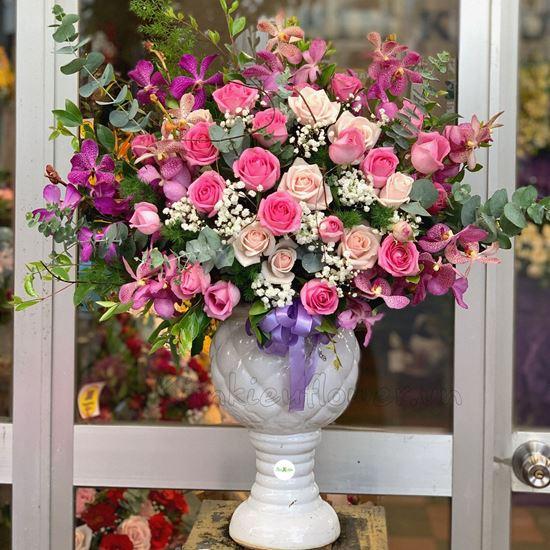 Bình hoa hồng kem dâu, lan tím-BI46