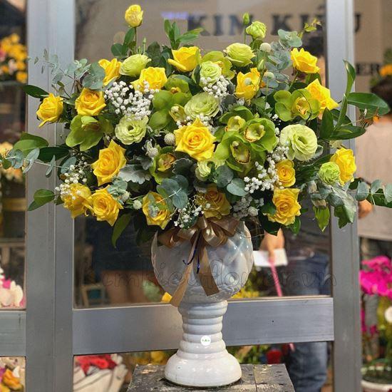 Bình hoa địa lan, hồng vàng-BI52