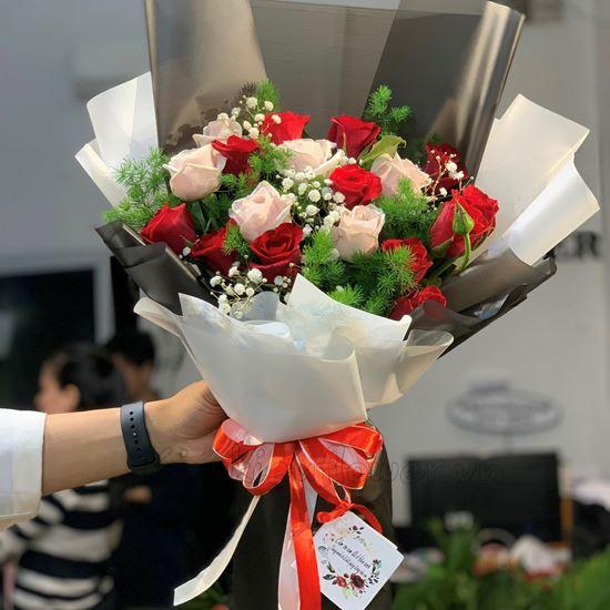 Bó hoa hồng kem, đỏ-HB127