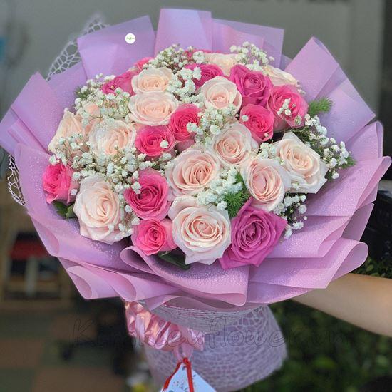Bó hoa hồng dâu đậm, kem - HB47
