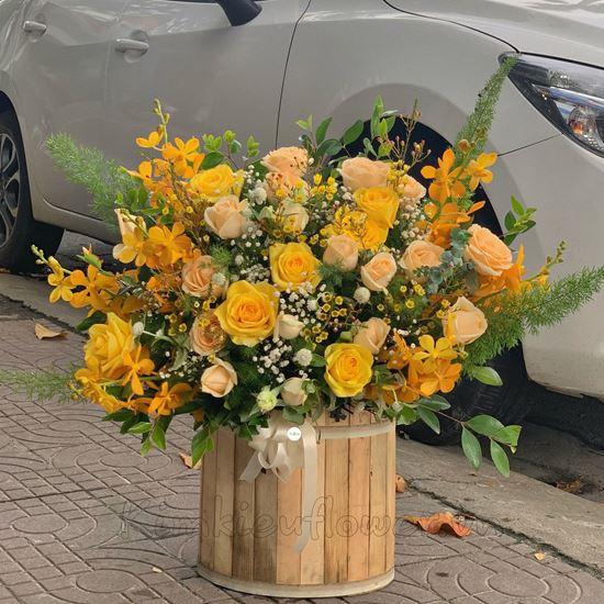 lẵng hoa hồng vàng, thanh liễu - HG158