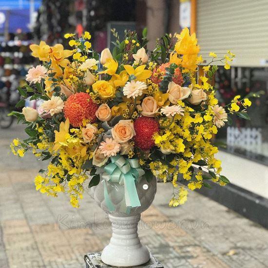Bình hoa địa lan, cúc mẫu đơn- BI77