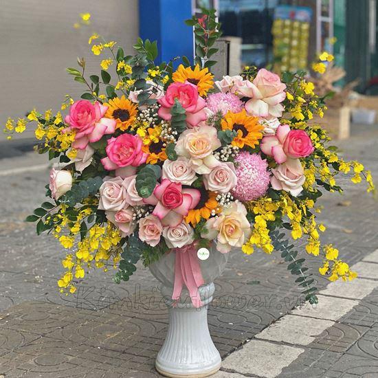 Bình hoa hướng dương, hồng đại hỷ - BI83