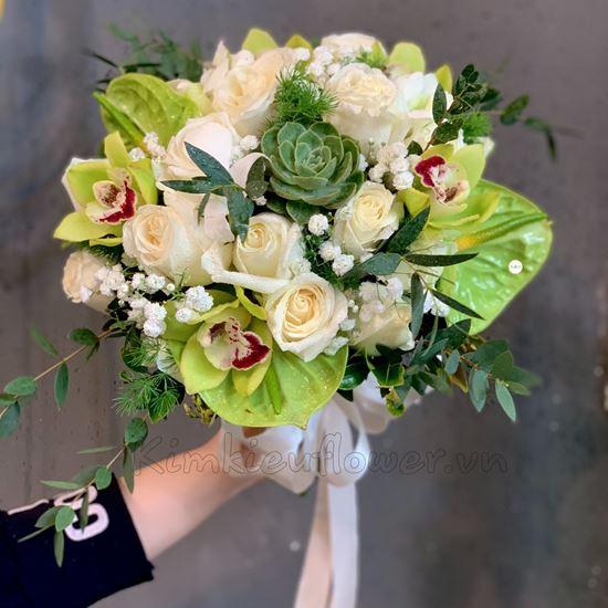 Bó hoa cưới địa lan, sen đá - HC23