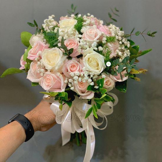 Bó hoa cưới hồng trắng, pastel - HC24