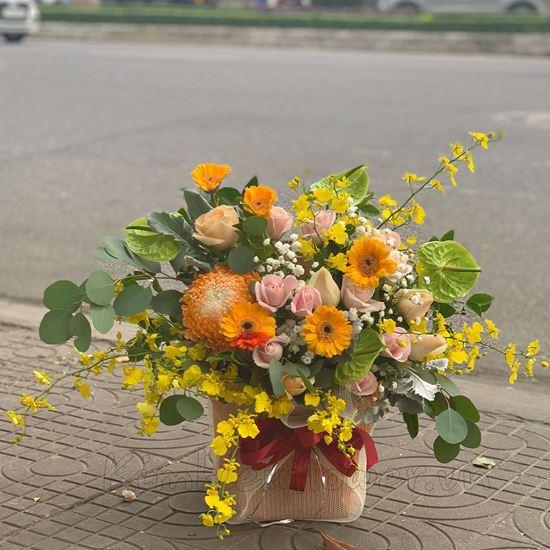 giỏ hoa cúc mẫu đơn, hoa hồng  - HG180