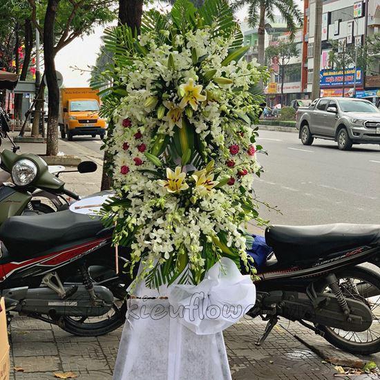 Vòng hoa viếng hoa ly, hoa cúc - KV65