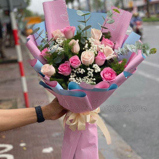 Bó hoa hồng dâu, pastel- HQ17