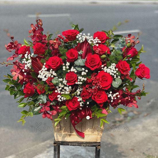 Lẵng hoa hồng đỏ, lan đỏ - HG197