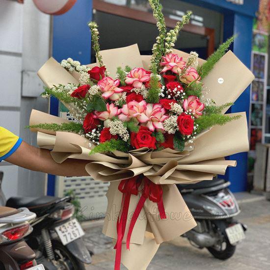 Bó hoa hồng đại hỷ, tiểu tú cầu - HB188