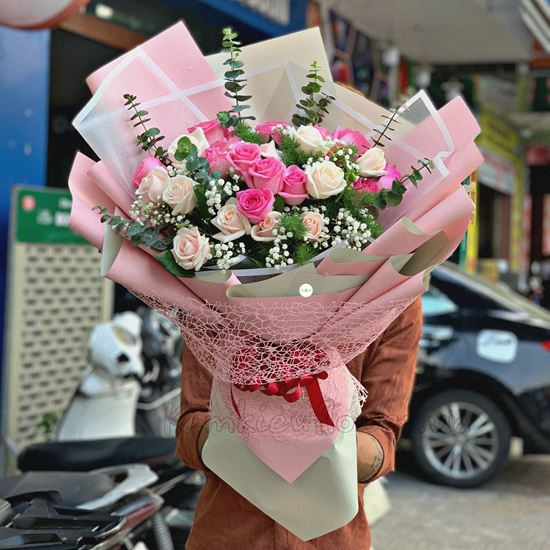 Bó hoa hồng kem, dâu - HB191