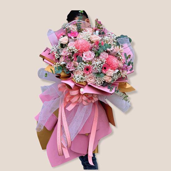 Bó hoa cúc mẫu đơn, hoa hồng - HB147