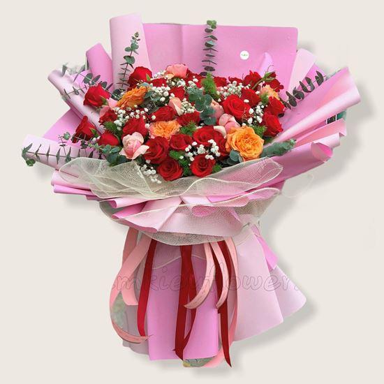 Bó hoa hồng juliet, hồng đỏ - HB157