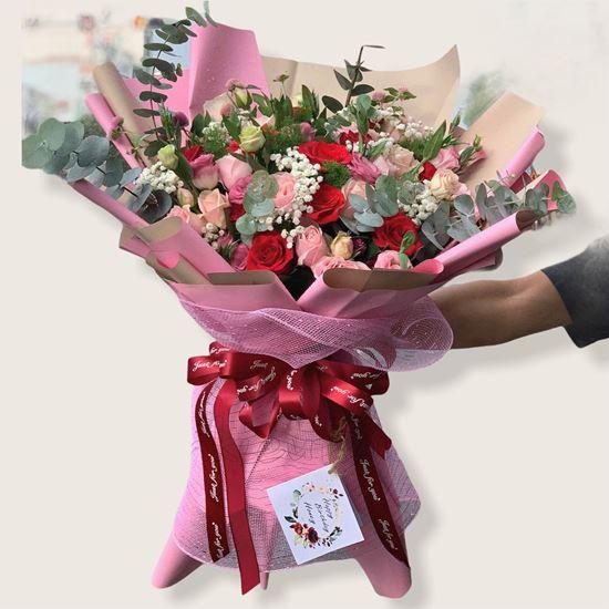 Bó hoa hồng dâu, cát tường- HB141