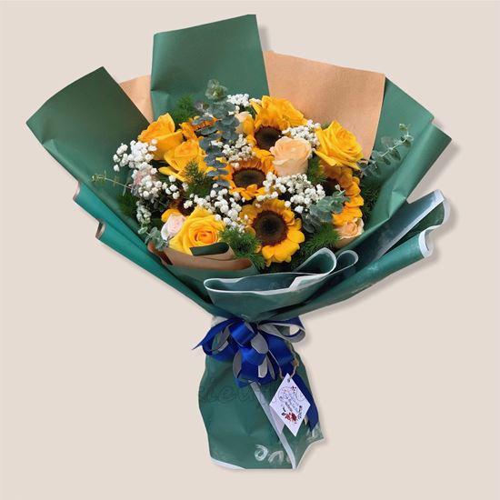 Bó hoa hướng dương, hoa hồng - HB173