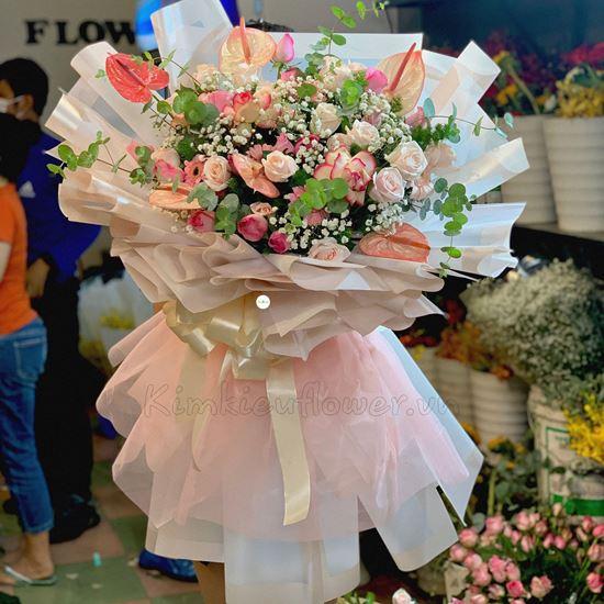 Bó hoa hồng đại hỷ, hồng pastel - HB204