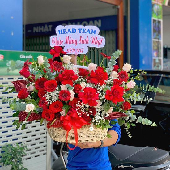 giỏ hoa hồng đỏ, hồng pastel - HG228