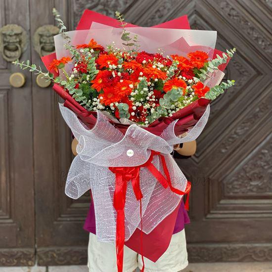 Bó hoa đồng tiền cam, đỏ - HB207