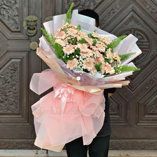 Bó hoa đồng tiền hồng nhạt - HB208