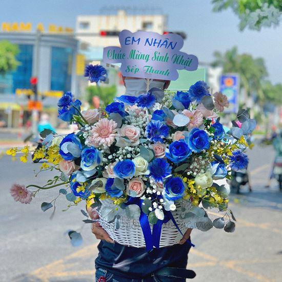 giỏ hoa hồng xanh, đồng tiền nhí - HG236