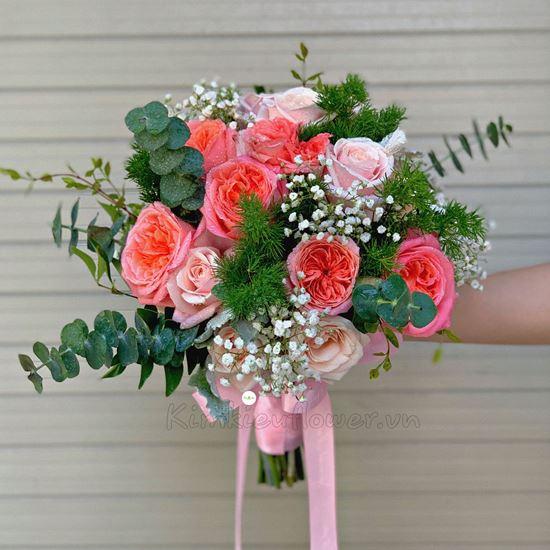 Bó hoa cưới hồng luan don, hoa hồng - HC31