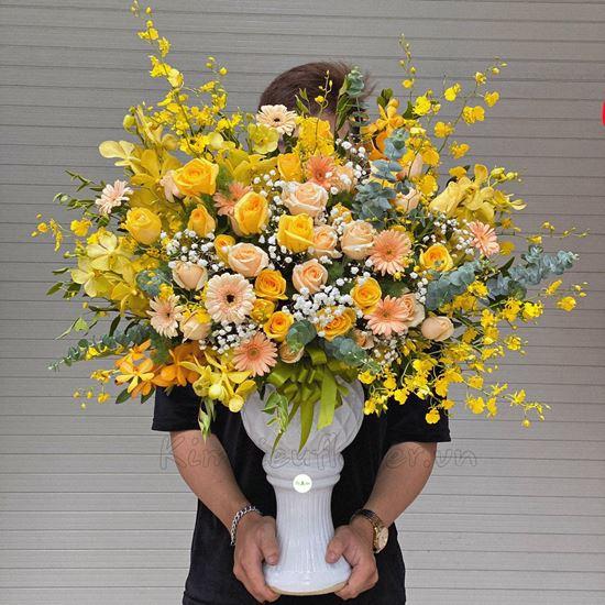Bình hoa lan vũ nữ, hoa hồng - BI114