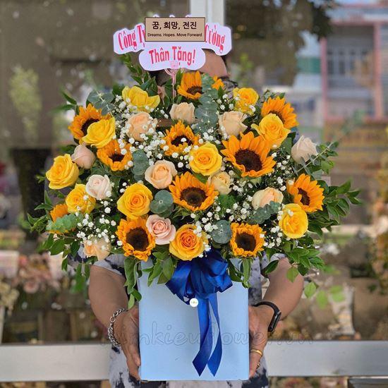 giỏ hoa hồng, hướng dương - HG245