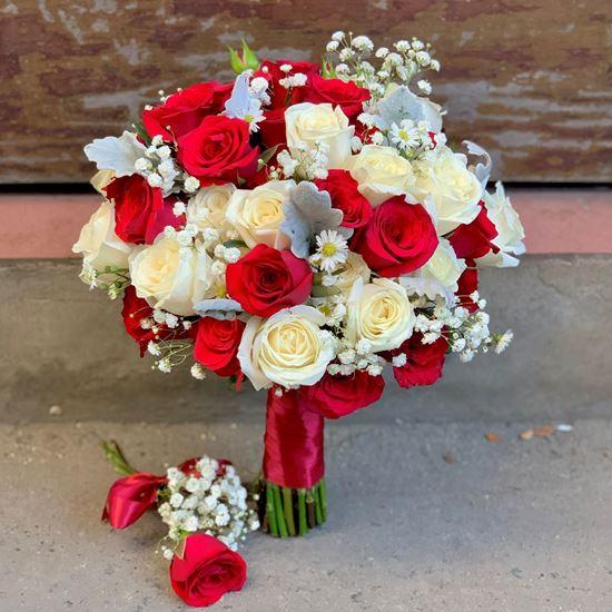 Bó hoa cưới hồng đỏ, trắng - HC32