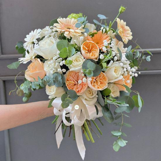 Bó hoa cưới hồng David, hồng trắng - HC33