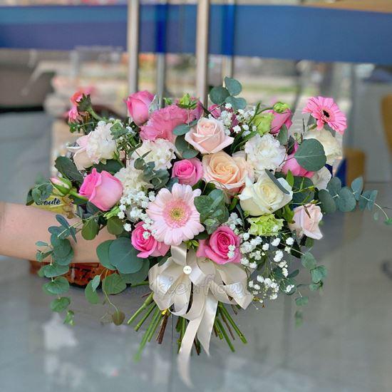 Bó hoa cưới hồng dâu, cát tường hồng - HC34