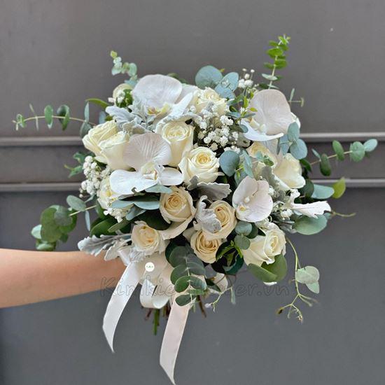 Bó hoa cưới hồng trắng, lan hồ điệp trằng - HC36