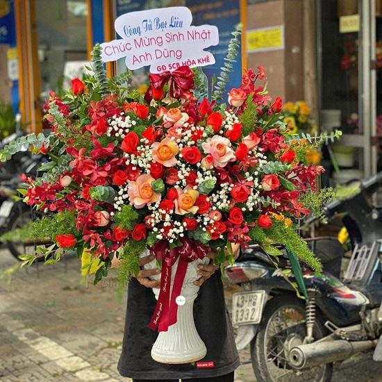 Bình hoa hồng son môi, lan đỏ - BI120